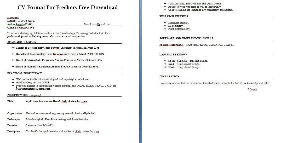 cv format for freshers free download resume writing