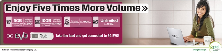 PTCL EVO 3G New Latest Prepaid & Postpaid Packages 2012