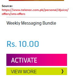 Telenor Djuice SMS Packages 2018