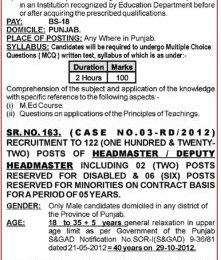 Headmaster/Headmistress Jobs through PPSC