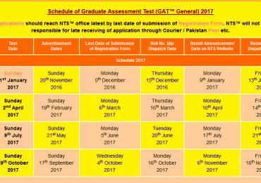 NTS GAT General Test Schedule 2018