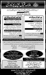 Allama Iqbal Open University Admission 2013