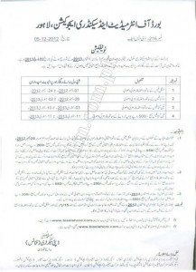 BISE Lahore Matric Exams Schedule 2013