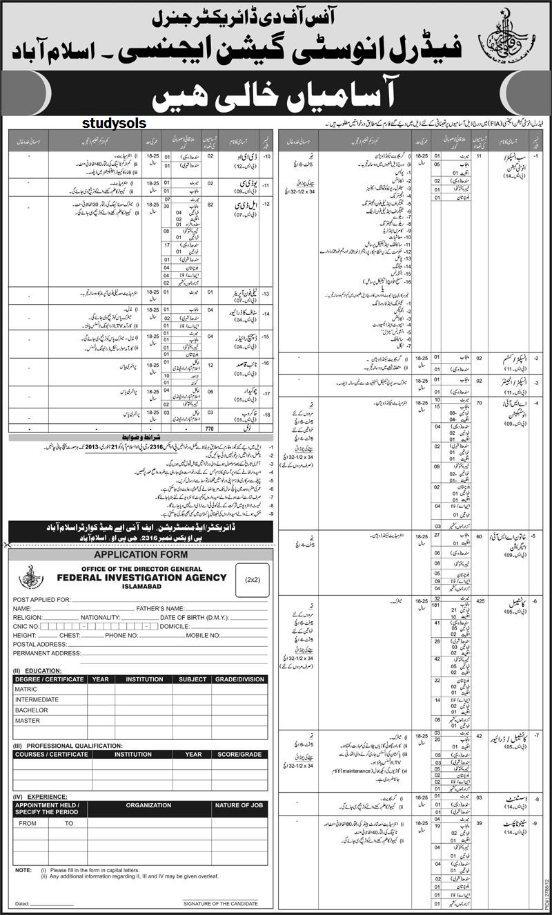 Fia Federal Investigation Agency Pakistan Jobs 2013, Forms, Inspector, ASI, 001