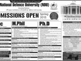 National Defence University Admission Schedule 2013