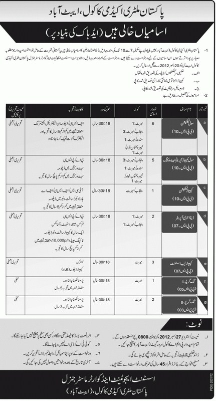 Pakistan Military Academy Jobs 2013 001