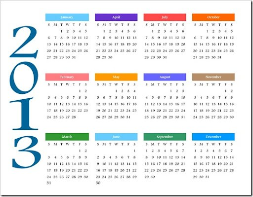 Pics Photos - 2013 Calendar Year Printable Coloring Calendar
