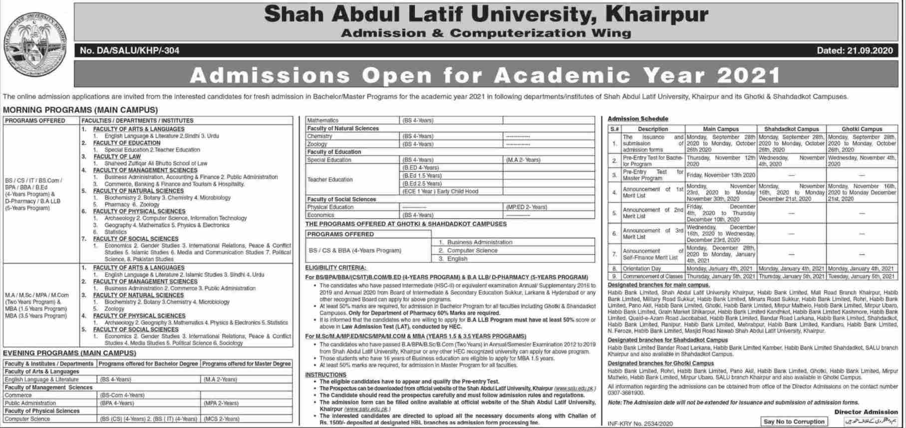 dates of the admission