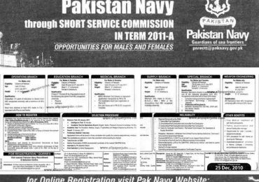 Pakistan Navy Jobs As Short Service Commissioned Officer 2013