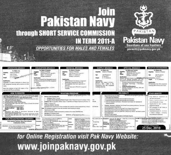 Pakistan Navy Jobs As Short Service Commissioned Officer 2013 001