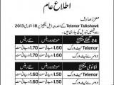 Telenor Talkshawk Revised Call Rates