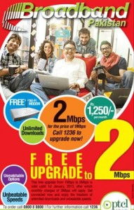 PTCL DSL Broadband Offers Free 1Mbps To 2Mbps