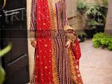 traditional red pakistani bridal gharara
