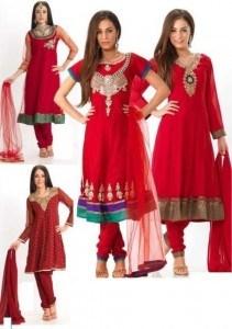 Красные платья в народном стиле.