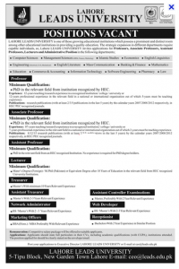 Jobs in Lead University Lahore Professor, Associate professor