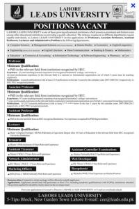 Jobs in Lead University Lahore Professor, Associate professor