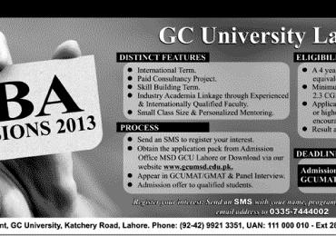 GCU Lahore MBA Admission 2013