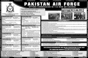 Pakistan Air Force Join commissioned officer in PAF 112 Non GD Course