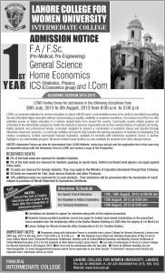 www.lcwu.edu.pk Prospectus,Admission form,Registration 2013 Online