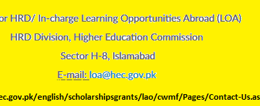 Commonwealth Scholarship Pakistan 2019 HEC