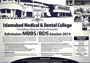 Islamabad Medical & Dental College admission Form 2013 for MBBS,BDS