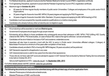 Indigenous Scholarships for Balochistan students HEC 2013 & 2014