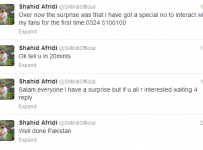 Shahid Afridi Mobile Phone number on his Twitter Profile
