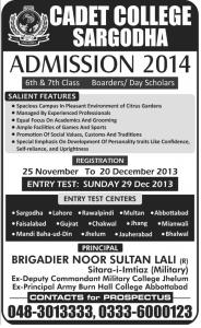 PAF Cadet College Sargodha Admission 2013
