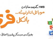 Free after First one MB usage Ufone Unlimited Mobile Internet Offer