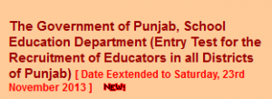 Punjab Arts, science Teacher/Educator Jobs 2013 Application Submission date extend