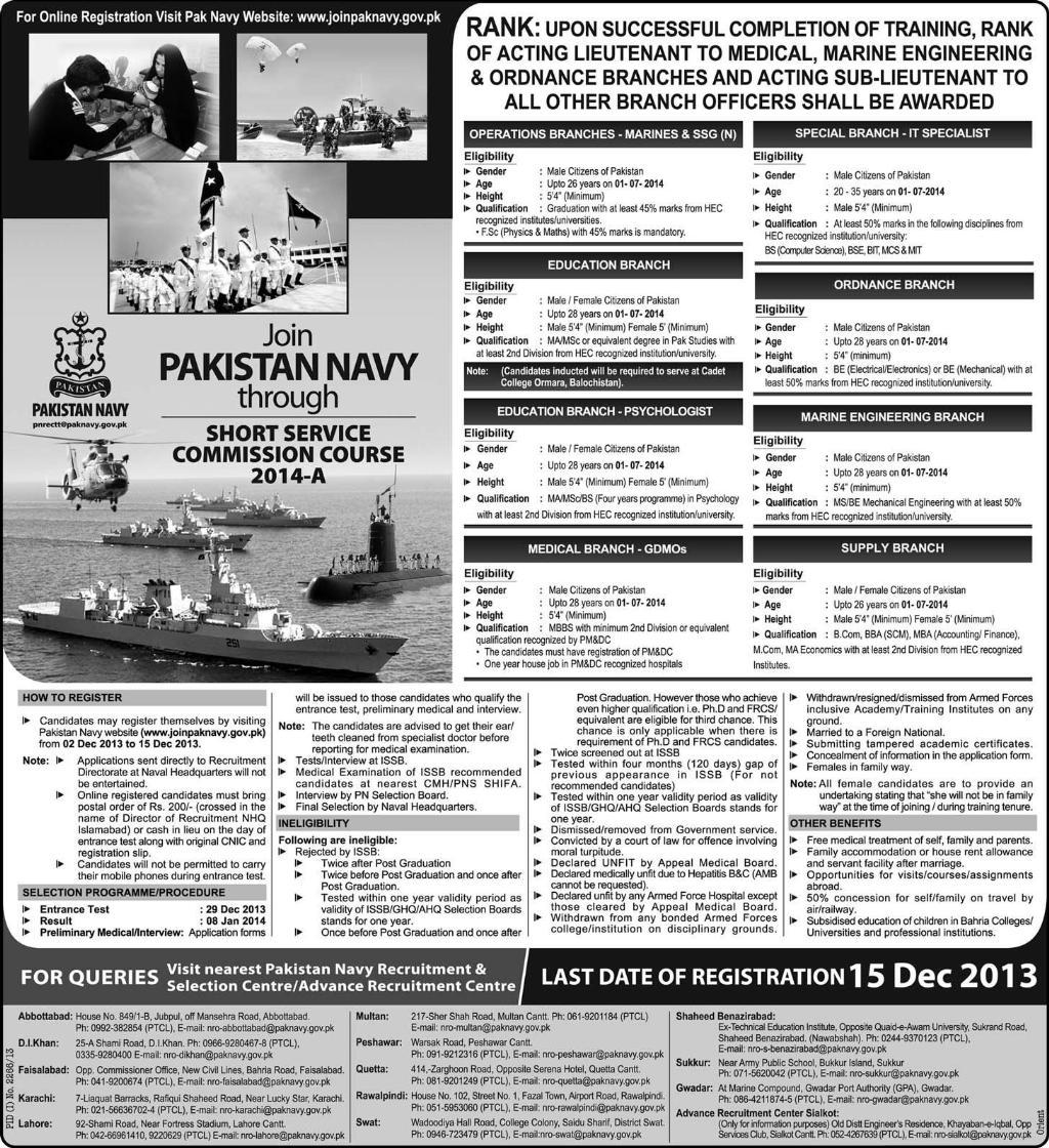Navy jobs in Pakistan through course 2014-A Online Registration