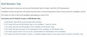 Lahore Board 5th 8th Class Roll Number Slip 2016