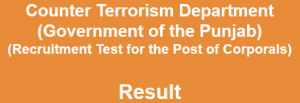 Counter Terrorism Department Corporals Entry Test Result