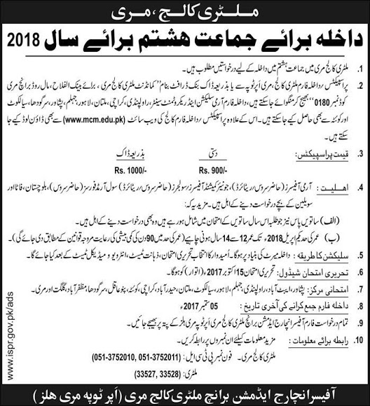 Military College Murree 8th Class Entry Test Result 2017 Admission 2018