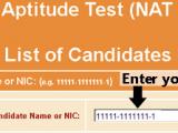 NAT Test Roll Number