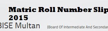 Bise Multan Board 10th Class, Matric Roll Number Slip 2015
