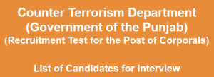 Counter Terrorism Jobs 2014 NTS Interview Candidates List, Dates