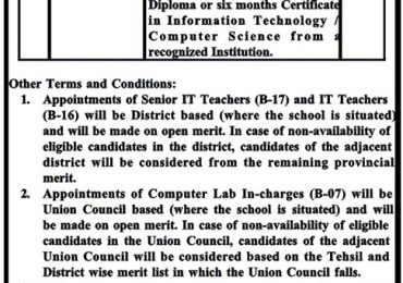 KPK IT Teachers Jobs 2015 NTS Application Form Computer Lab Incharge