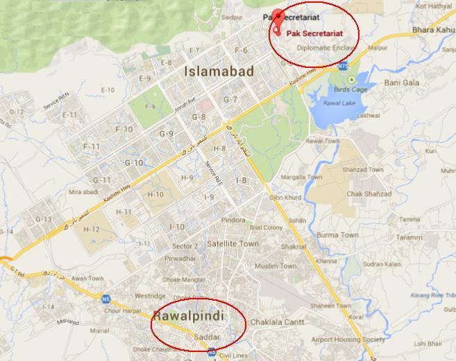 metro Rawalpindi to Islamabad map