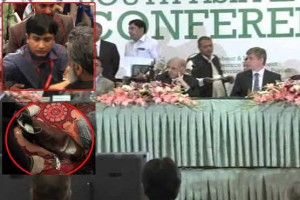 Shoe throws at CM Punjab Shahbaz Sharif Pictures Reason journalist