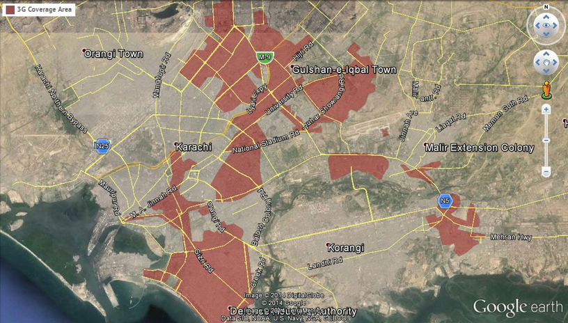 Ufone Karachi Coverage Map