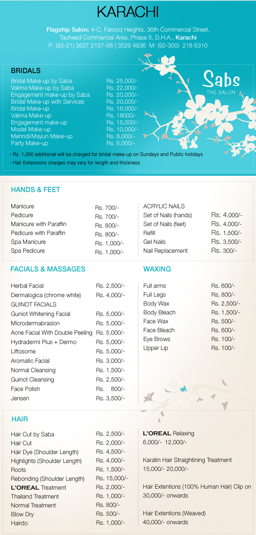 Sabs beauty parlour karachi rates charges contact number for Loreal salon price list