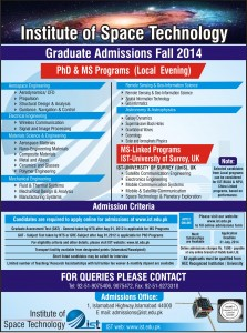 IST Islamabad Admissions 2014 for MS PHD Eligibility Criteria Apply Date