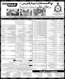 PAF Civilian Jobs 2014 Apply Online Registration Pakistan Air Force