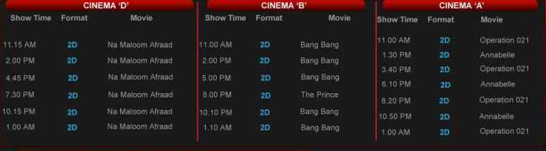 Movie schedules for today