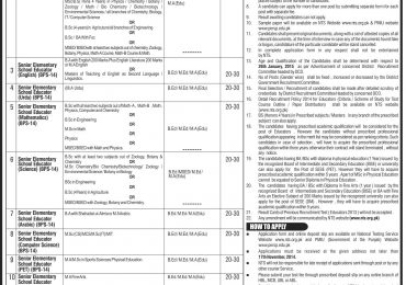 Punjab Senior Elementary School Educator Jobs November 2014 BPS 14 Eligibility Criteria Age Limit