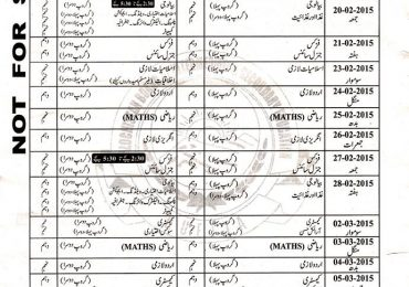 Balochistan Board Quetta 10th Class Date Sheet 2015 Annual Matric Exams