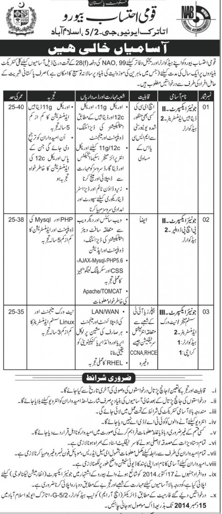 NAB Jobs 2014 Application Form Junior Expert in National Accountability Bureau Islamabad