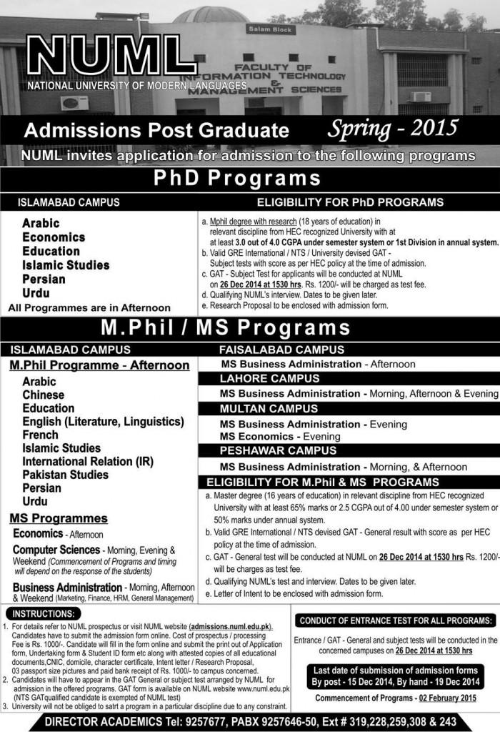 NUML University Islamabad Admission Spring 2015 PhD Mphil Form Last Date Post Graduate