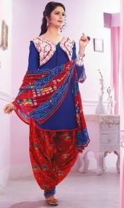 Patiala Salwar Kameez with Back Neck design